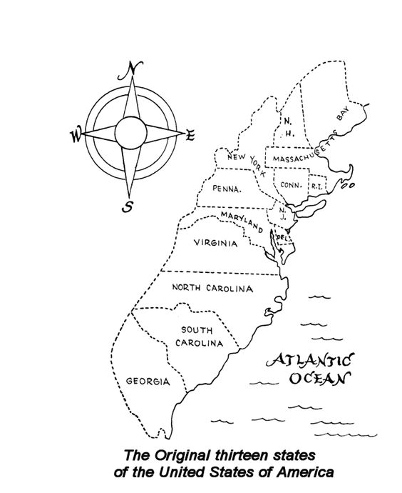 A coloring page for the original 13 colonies (where our