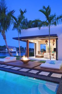 Modern Back Yard outdoors palm trees pool mansion ...