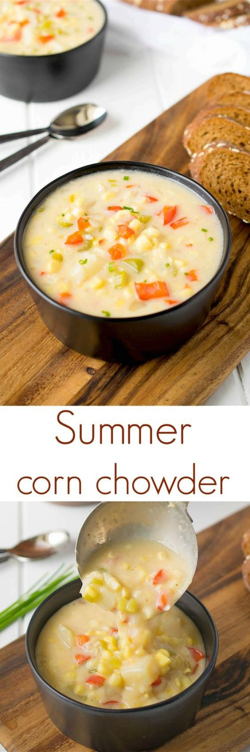 This summer corn chowder is comfort food that can be enjoyed anytime of the year. Sweet corn, red pepper and potato swimming in a light, creamy broth.: