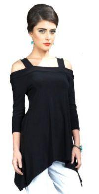 Amazon.com: Clara Sun Woo Cold Shoulder Tunic Top ...