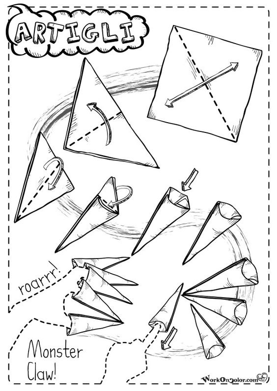 Origami instruction for Halloween Monster's Claws! Repeat