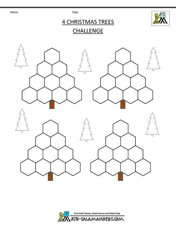 xmas math worksheets 4 christmas trees challenge blank