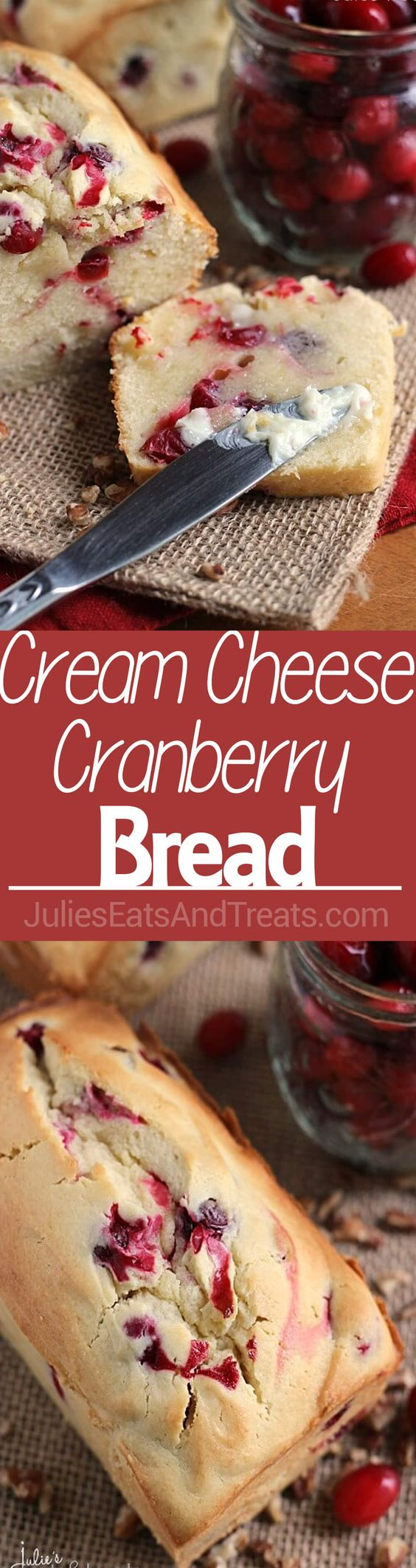 Cream Cheese Cranberry Bread Recipe via Julie's Eats and Treats ~ Amazingly Soft and Tender Quick Bread Stuffed with Tart Cranberries!