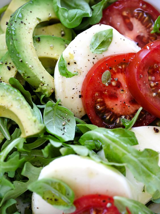 Caprese salad Avocado and Salads on Pinterest