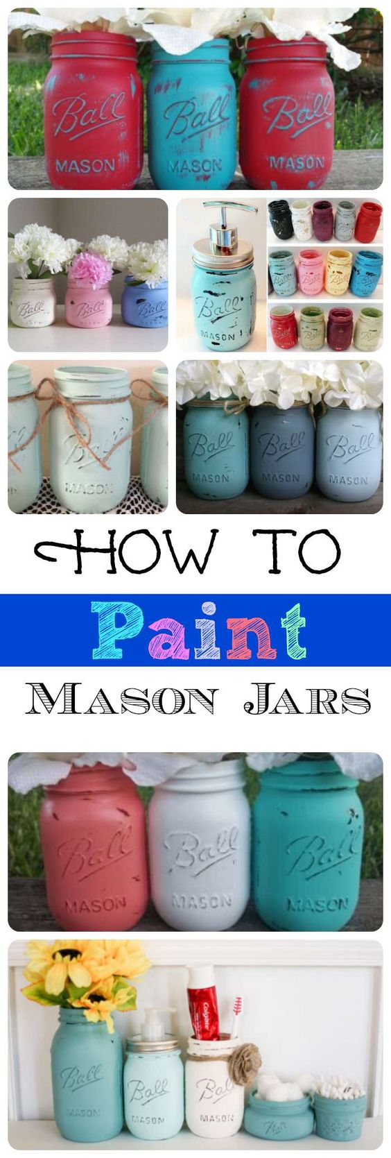 These are adorable mason jar project ideas!  Painting glass is easy!: