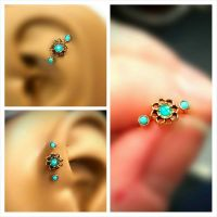 Gold Turquoise Opal Tragus Cartilage Earring Ring Forward ...