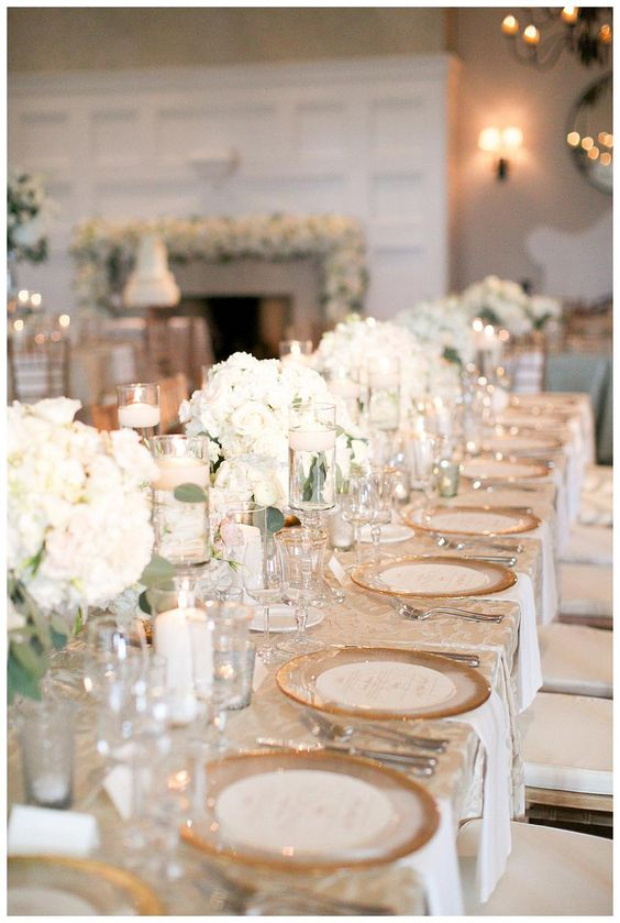 Gold Ivory And White Wedding Reception Tabletop With