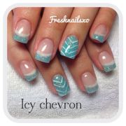 chevron nails blue gel