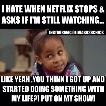 I hate when Netflix stops and asks if I'm still watching...Like yeah, you think I got up and started doing something with my life?! Put on my show!: