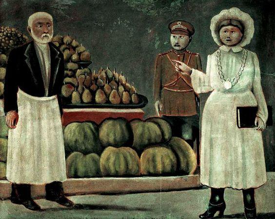 Sanitary inspector woman of the market - Niko Pirosmani: