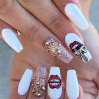 long white red lips gold nail art design | coffin nails ...
