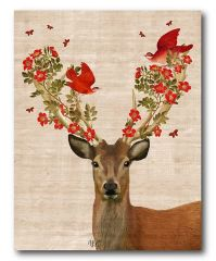 Deer & Love Birds Wrapped Canvas | Love birds, Canvases ...