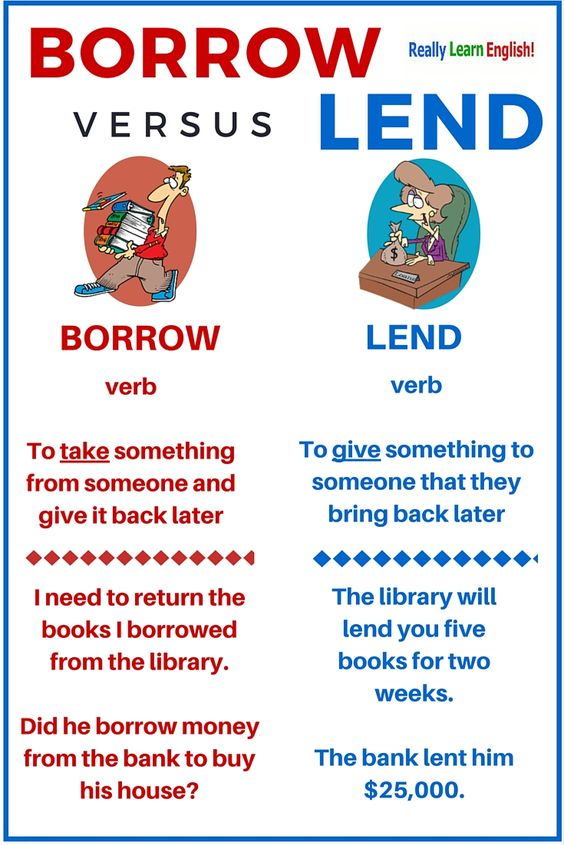 Borrow Versus Lend  Learn English  Learn English  Pinterest  Learn English And English