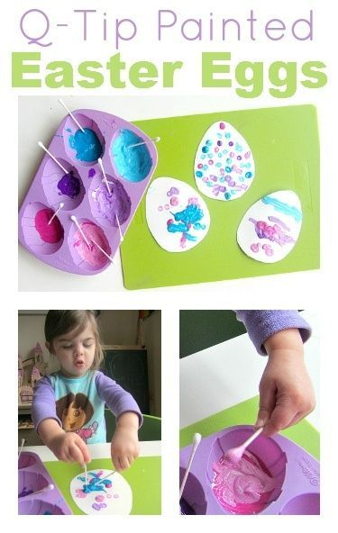Q Tip Painted Easter Craft for Preschoolers
