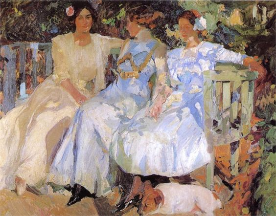 Page: My Wife and Daughters in the Garden  Artist: Joaquín Sorolla  Completion Date: 1910  Place of Creation: Spain  Style: Impressionism  Genre: portrait  Technique: oil  Material: canvas  Dimensions: 166 x 206 cm  Gallery: Private Collection: