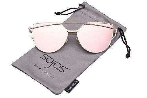 SojoS SJ1001 Cat Eye Mirrored Flat Lenses Street Fashion ...: