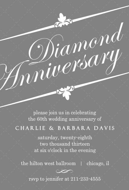 60th anniversary parties, Invitations and Gray on Pinterest