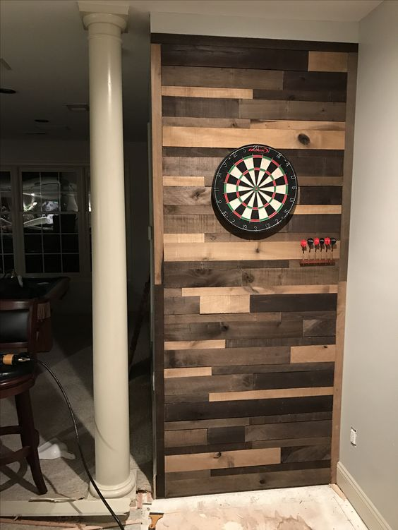 Pallet Wall Dartboard Mancave Pallet Wall Diy Beer