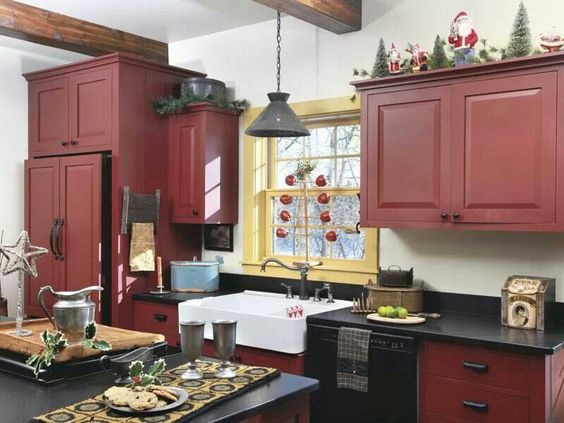 I LOVE this kitchen Especially the cranberry colored