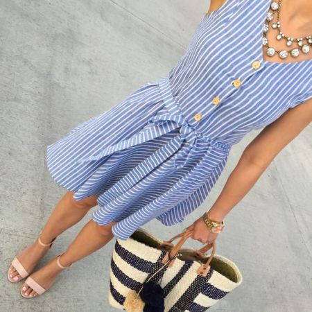blue striped dress, nude sandals, crystal necklace, mar y sol collins woven tote, spring outfit, petite fashion blog - click the photo for outfit details!