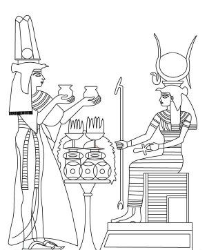 , Hathor Goddess Sitting On Her Throne Coloring Page