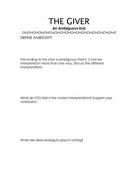 The Giver Worksheets And Vocabulary List