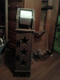 COUNRTY PRIMITIVE WOODEN TOILET PAPER DISPENSER AND HOLDER ...