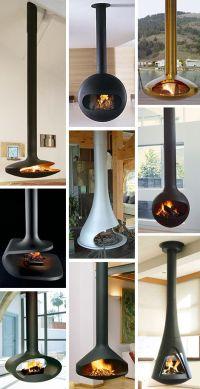 Wood burner hanging from ceiling in lounge | Ideer ...