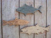 Rustic Distressed Fish Wall Art Set Wood Cabin Decor Cut ...