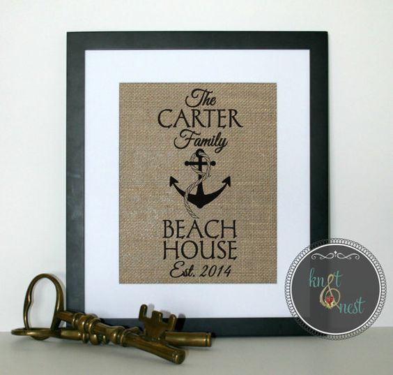 Beach House Burlap Print Custom Made Personalized Beach House