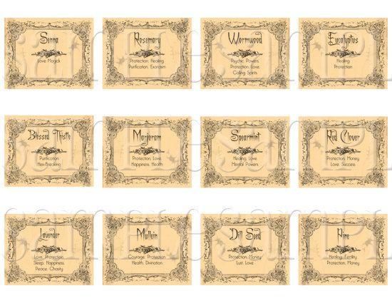 Printable Digital Wiccan Herb Labels Digital Printable