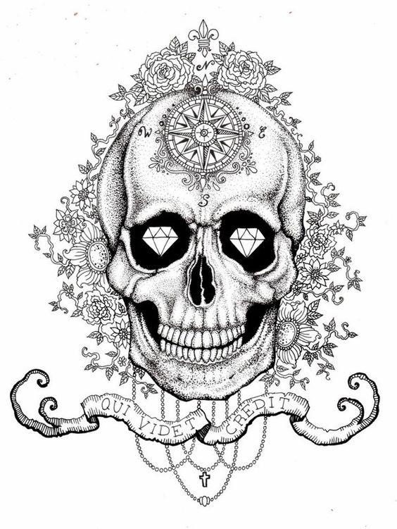 Skull with diamond eyes by Vika Naumova, via Behance