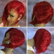 fire red bob curls buns braids
