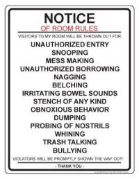 bathroom cleanliness rules | room rules notice door sign ...