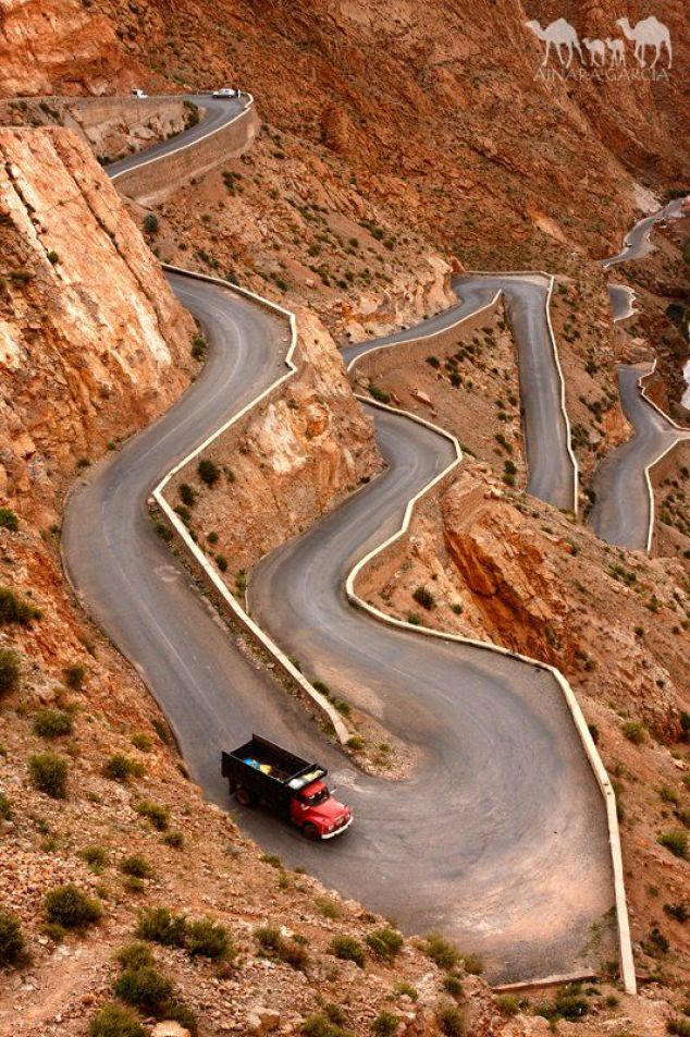 Winding road in the Dades Gorge, Morocco. Abdelillah and I have traveled similar roads that were not as in as good shape to see his sister. Not great for someone who gets car sick! LOL: