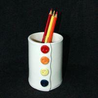 Button Ceramic Pottery Pencil Holder Cup Vase | Ceramics ...