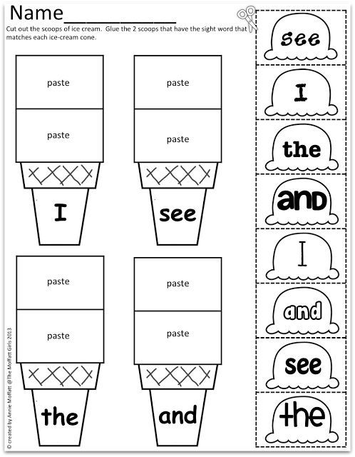 Cut and paste, Sight word worksheets and Colors on Pinterest
