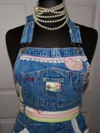 Recycled Bib Blue Jeans Craft Apron | Tea's Vintage Rags ...