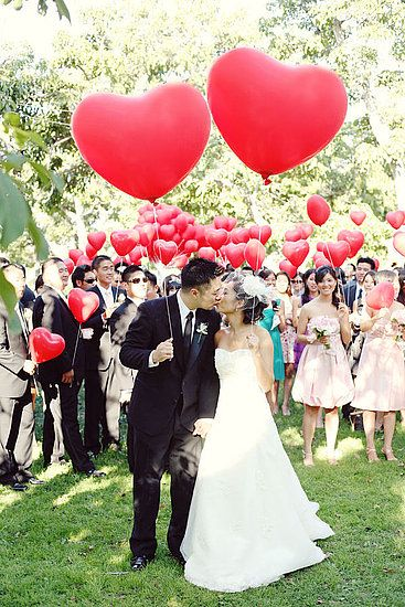 Idea worth stealing: heart balloons. Every guest gets one and lets them go all at once instead of throwing rice!: