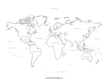 A printable map of the world with blank lines on which