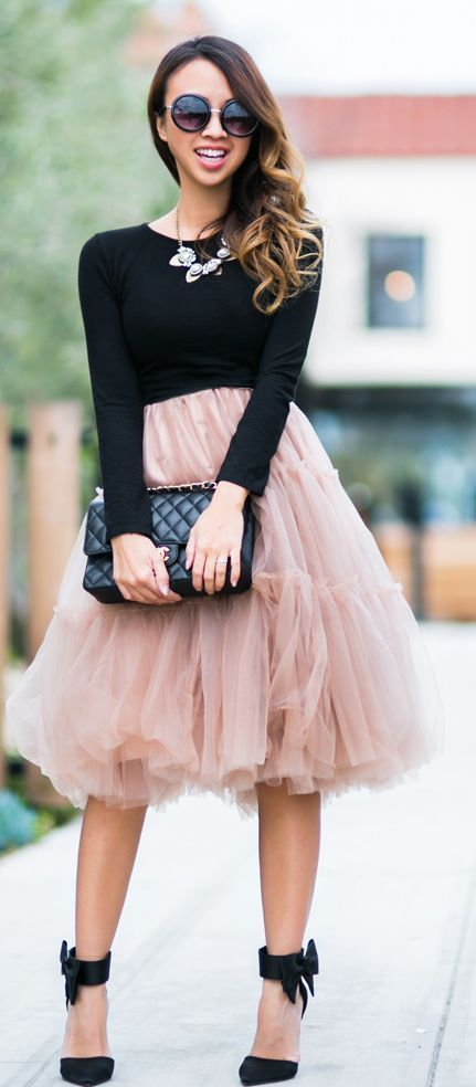 Chicwish Blush Tulle Skirt with Bow Heels Sandals and Bib Necklace or Black Long Sleeve Top: