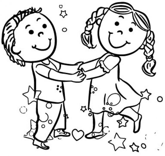 happy playing girl and boy dance coloring page free