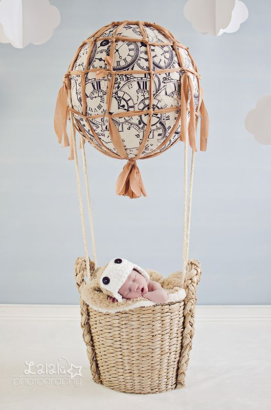 Newborn baby in a hotair balloon setup Lalal photography Learning photography blog