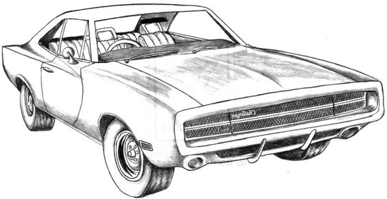 Coloring, Coloring pages and Dodge challenger on Pinterest