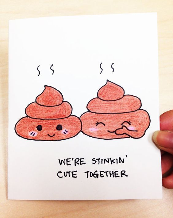 We're stinkin' cute together cute and funny anniversary love card for boyfriend, girlfriend, husband and wife by LoveNCreativity:
