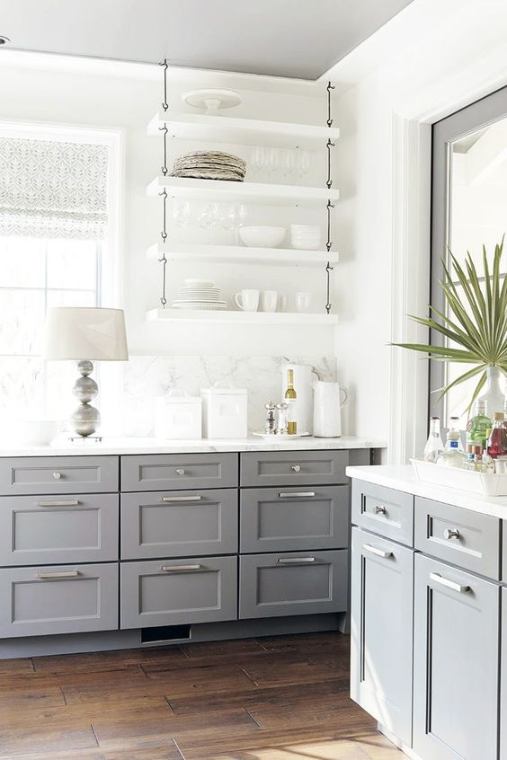 Kitchen Decorating Ideas: Open Shelving - Gray Cabinets - Kitchen Design - Bright Spaces - Home Ideas: