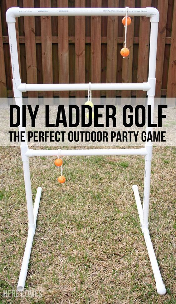 "DIY Ladder Golf - An Easy Tutorial for the Perfect Party Game via Here Comes the Sun ""Ladder Golf is a great outdoor game. Play it with your family or with a crowd. It is perfect for parties. Easy to make with this tutorial."""