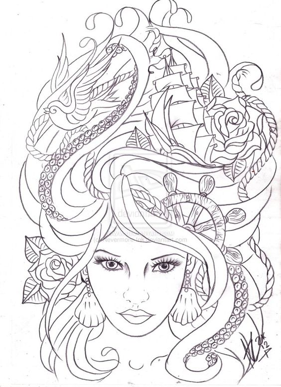 maritime hair tattoo sketch by ~Nevermore-Ink on