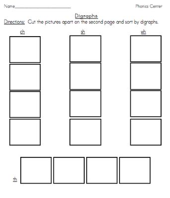 Digraphs cut & paste worksheet (free!) wh, th, ch, sh