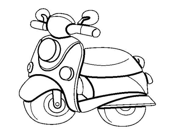 Coloring page Motorcycle Vespa to color online
